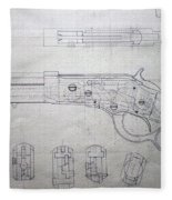 Firearms Lever Action Rifle Drawing Fleece Blanket