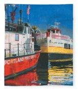 Fireboat And Ferries Fleece Blanket