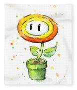 Fireflower Watercolor Fleece Blanket