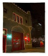 Firehouse In Xmas Lights Fleece Blanket