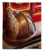 Fireman - Hat - Commander  Fleece Blanket
