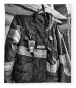 Fireman - Saftey Jacket Black And White Fleece Blanket