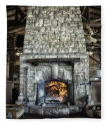 Fireplace At The Lodge Vertical Fleece Blanket