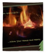 Fireside Christmas Greeting Fleece Blanket