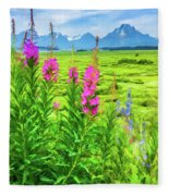Fireweed In The Foreground 2 Fleece Blanket