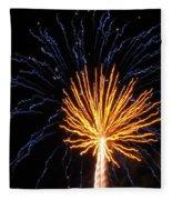 Firework Blue And Gold Fleece Blanket