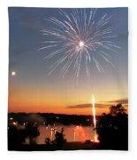 Fireworks And Sunset Fleece Blanket