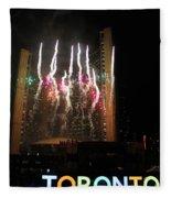 Fireworks At Toronto City Hall Fleece Blanket