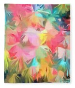 Fireworks Floral Abstract Square Fleece Blanket