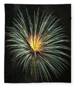 Fireworks Green Flower  Fleece Blanket