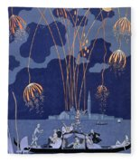 Fireworks In Venice Fleece Blanket