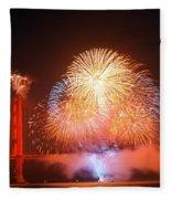 Fireworks Over The Golden Gate Bridge Fleece Blanket