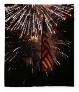 Fireworks With Flag Fleece Blanket