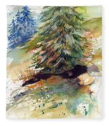 Firs On The Hill Fleece Blanket