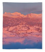 First Light Colorado Rocky Mountains Panorama Fleece Blanket