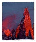 First Light On Cerro Torre - Patagonia Fleece Blanket