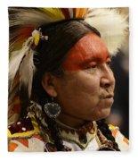 Pow Wow First Nations Man Portrait 1 Fleece Blanket