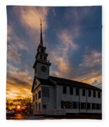 First Parish Church In Milton Massachusetts Sunset Fleece Blanket