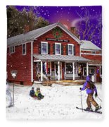 First Snow At The South Woodstock Country Store Fleece Blanket