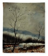 First Snow In Harroy Fleece Blanket