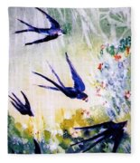 First Swallows Of Summer  Fleece Blanket