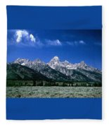 First View Of Tetons Fleece Blanket