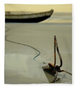 Fish Boat And Anchor On Low Tide  Fleece Blanket
