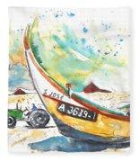 Fisherboat In Praia De Mira Fleece Blanket