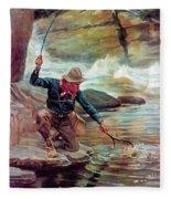 Fisherman By Stream Fleece Blanket