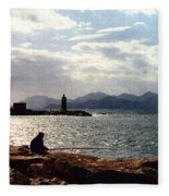 Fisherman In Nice France Fleece Blanket
