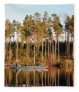 Fisherman On Evening Lake Fleece Blanket
