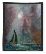 Fisherman Under Full Moon Fleece Blanket
