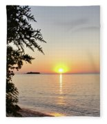 Fisherman's Island Sunset Fleece Blanket