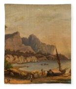 Fishermen At The Bay Fleece Blanket