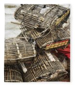 Fishermen Bamboo Crab Cages At Kep Market Cambodia Fleece Blanket