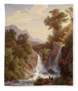 Fishermen By The Waterfall Fleece Blanket