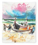 Fishermen In Praia De Mira 03 Fleece Blanket