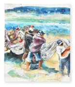 Fishermen In Praia De Mira Fleece Blanket