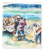 Fishermen In Praia De Mira Fleece Blanket
