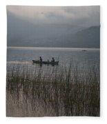 Fishermen On Lake Atitlan Fleece Blanket