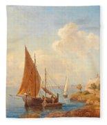 Fishermen On The Dalmatian Coast Fleece Blanket