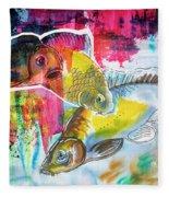 Fishes In Water, Original Painting Fleece Blanket