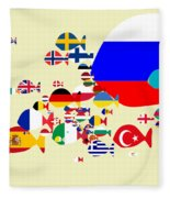 Fishes Map Of Europe Fleece Blanket