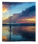 Fishing And Watching The Sunrise Fleece Blanket