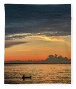 Fishing At Sunrise Fleece Blanket