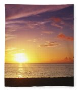 Fishing At Sunset Fleece Blanket