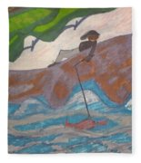 Fishing At The Cove Fleece Blanket