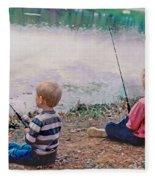 Fishing At Watkins Mill Fleece Blanket