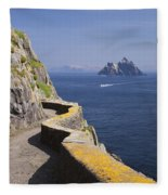 Fishing Boat Approaching Skellig Michael, County Kerry, In Spring Sunshine, Ireland Fleece Blanket