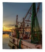 Fishing Boat At Sunset Fleece Blanket